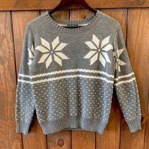 POL Grey Snowflake Scoop Neck Sweater